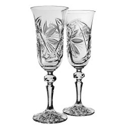 Liliom * Lead crystal Champagne flute set of 2 for weddings (11698)
