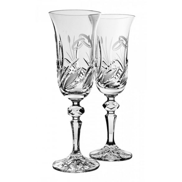 Viola * Crystal Champagne flute set of 2 for weddings (17998)