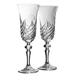 Fire * Crystal Champagne flute set of 2 for weddings (18698)